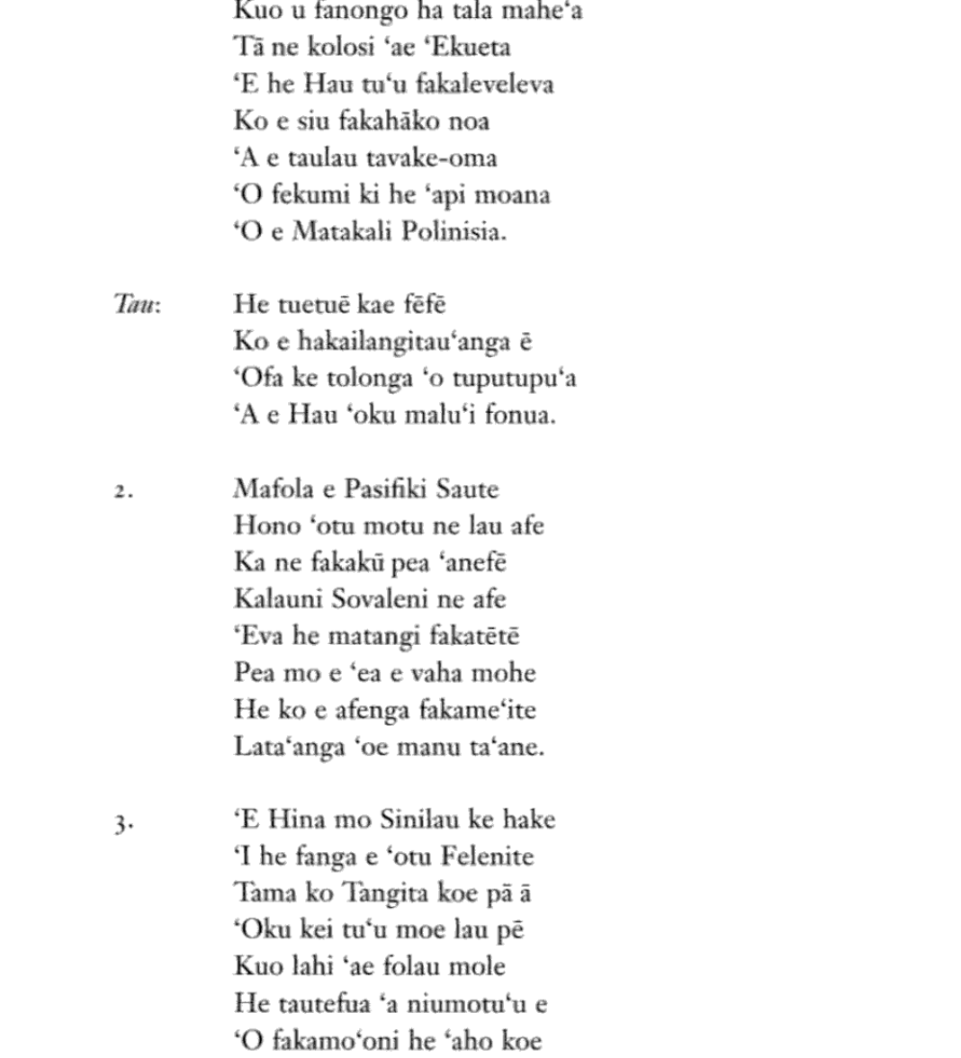 Nepituno Lyrics from Wood-Ellen Queen Salote of Tonga: The Story of an Era 1900-1965. (Pg 254)